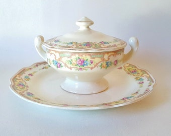 Antique Plate Covered Sugar Sauce Bowl  Cottage Chic Floral China Victorina Floral  Pink Yellow Blue Flowers Platter Covered Bowl Wedding