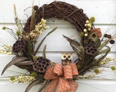 "18"" Natural Grapevine Owl Wreath"