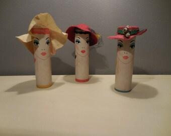 Vintage Cardboard Tube Ladies With Hats