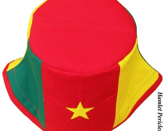 Cameroon Flag Red-top Bucket Hat | Cameroonian Hat | Cameroon Africa | African | Embroidery | Country Hat by Hamlet Pericles | HP10715
