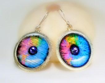 Bright Rainbow Eye Earrings, FUN, unique, Halloween,Evil Eye earrings,Women, Teens, Party jewelry, gift under 10