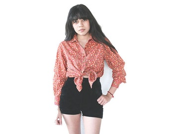 SWEET 70's Dark Red Vintage Autumn Floral Paisley Print Corduroy Long Sleeve Button-Up Shirt - Small