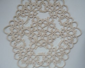 Handmade doily ivory - Home decor - Housewarming - tatting - handmade lace - table decor - birthday gift -