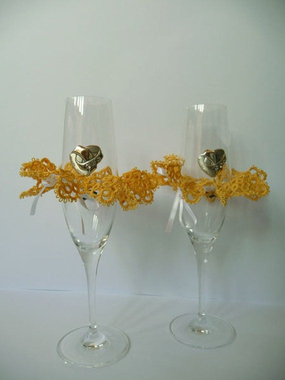 Two Yellow decorations for wedding glasses - tatting - handmade lace - wedding - tatting lace.