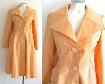 50s 60s Peach Princess Trench Coat M