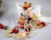 Valentine Necklace , Vintage Buttons , Hand Crochet , Decorative Swag , Belt , Embellishment , Wearable Buttons , Old Button Jewelry