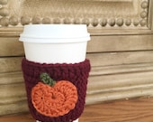 CROCHET COFFEE COZY - Pumpkin applique - Burgundy