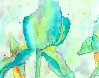Watercolor Print, Irises, Wall Decor