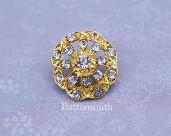 5 to 20 Piece Crystal Rhinestone Buttons - (21mm) RS-010 in gold finish- Perfect for Ring pillow Hair pins Brooch Bouquets hair pins craft