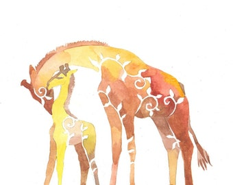 Giraffe Mother and Baby-African animals-nursery-Gift idea-giraffes silhouette-Kids room decor-gift for kid-Watercolor-PRINT watercolor