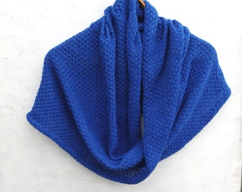knitted cowl scarf, knit blue lace infinity scarf, knit circle shawl, tube shawl, wrap, women men accessories, knitting neck warmer, hoodies