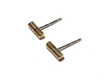 Coil Bar Earrings - Bronze
