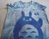 New Sale item. Totoro holding tulips, stars, woman's OX Sonoma v-neck t-shirt, discharged and dyed, blues and fuchsia