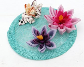 Goldfish and Waterlilly Fascinator - Japanese Lilypond Fascinator - Japanese Fascinator - Waterlily Headpiece - Button Hat - Waterlily Hat