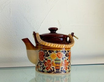 brown floral teapot Japan