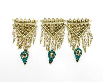 Tassel Pendant-- Gold Toned Triangle Tassel Pendant with Turquoise Teardrop Mosaic Accent-- (S66B12-03)