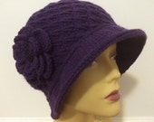 Purple Winter Cloche Hat With Flower