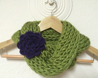 Knit Soft Chunky Cowl Scarf With Adorable Adjustable Flower