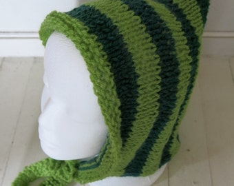 Green striped Pixie hat / hood