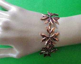 RENOIR COPPER BRACELET Rare & Pretty Poinsettia Flower Vintage Art Deco signed jewelry