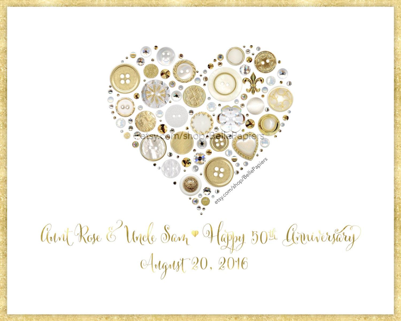 golden anniversary gifts framed heart gold button art fiftieth. Black Bedroom Furniture Sets. Home Design Ideas