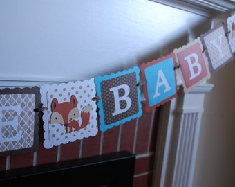 Welcome Baby Banner, Fox Baby Shower Banner, Fox Decorations, Fox Party