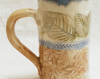Ceramic floral leaf coffee mug 16oz. stoneware 16A079