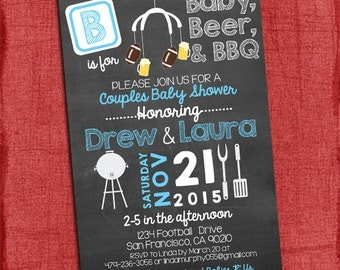 Printable Beer, BBQ and Football Coed Couples Baby Shower Invitation -  Baby Girl or Baby Boy shower - Chalkboard Style - I design you print