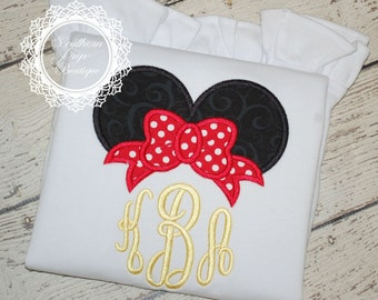 Magical Bow Monogram Applique Shirt - Disney Trip - Vacation - Birthday Shirt - Minnie Mouse- Mickey Mouse
