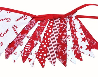 Christmas Bunting : Red / White Flags - Scandi Xmas Party Banner, Decoration .