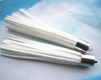 10pcs 80mm Silver Metal cap White suede leather tassel pendant charms findings