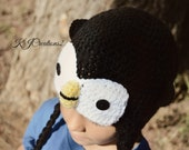 Penguin hat (All sizes available-Made to order) Handmade ear flap penguin hat
