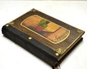 Book and rose, decorating books, book of poems, leather bound book, flower garden book, antique garden book, artist's sketchbook