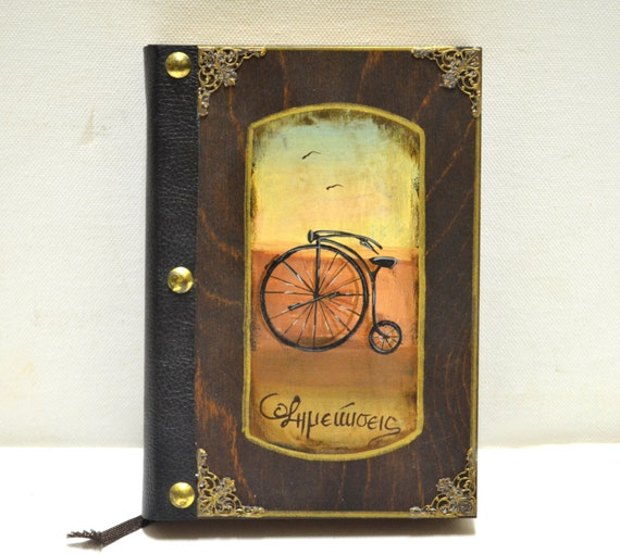 Bicycle art, vintage bicycle, decorating books, hand bound book, leather bound book, bicycle original, cyclist's gift, steampunks bicycle