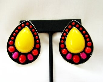 Sterling Silver Earrings Vintage Cabochon Pear Drop Colorful Resin Mosaic Yellow Red Pink Black Eco Hand Fabricated Bezel Set Lemon Canary