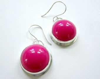 Sterling Silver Earrings Hot Flamingo Pink Vintage Acrylic Eco Friendly Round Dangles Hand Fabricated Go Green