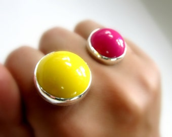 Chunky Double Two Finger Ring Eco Friendly Sterling Silver Vintage Acrylic Statement Ring Neon Hot Flamingo Pink Lemon Yellow Go Green