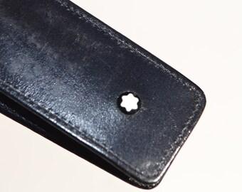 Vintage 80's black leather Mont Blanc pen holder