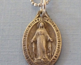 French Antique Miraculous Medal - Virgin Mary Necklace - Pendant Necklace - Catholic Religious Jewelry