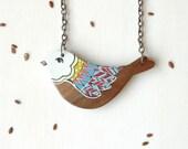 Cute bird necklace,hand painted bird pendant,wood necklace,wooden pendant ,animal necklace woodland