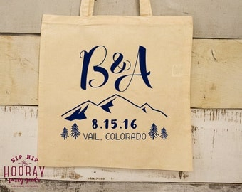 Mountain Wedding Totes, Wedding Favor Totes, Rustic Party Favor Bag, Colorado Mountains, Tote Bags, Canvas Bags, Welcome Bags, 1629