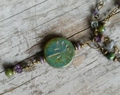 Dragonfly Necklace Green Rustic Purple Gemstone Necklace Multiple Strand Flourite