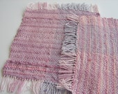 Two Handwoven Cotton Snack Mats  purple pink mauve
