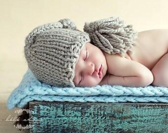 Newborn Hat - FAWN - Mini Long-Tailed Stocking Beanie - Newborn photo prop - knitbysarah - Stitches by Sarah