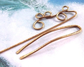 Gold Hair Stick, Gold Hair Fork, hammered, 2, hair pin, shawl pin, large, brass, oxidized, wire