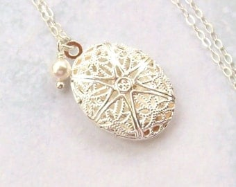 SALE Tiny Silver Locket Necklace, Oval Locket Necklace, sterling silver, filigree locket, fall fashion, matte, swarovski pearl, weddings
