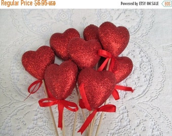 AUGUST SALE 20% Off, 8 Red Glitter Heart Picks...Crafts, Bouquets, Fascinators~Festive Red
