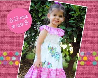 Rose's Ruffle Neck Dress PDF Pattern sizes 6/12 months to 8 girls