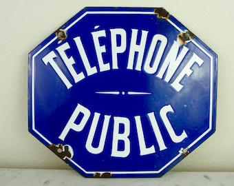 Vintage French Sign Telephone Sign Porcelain Enamel Metal Sign Industrial Street Sign Blue and White Advertising