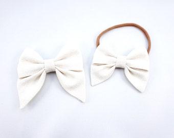 Linen Ivory Sailor Bow Headband Nylon Skinny Headband or Clip